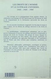 Les Droits De L'Homme Et Le Suffrage Universel 1848-1948-1998 - 4ème de couverture - Format classique