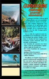 Guadeloupe : canyons, gouffres, découverte - 4ème de couverture - Format classique
