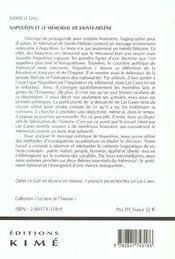 Napoleon Et Le Memorial De Sainte Helene - 4ème de couverture - Format classique