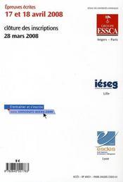 Accès ; sujets et corrigés ; concours 2007 - 4ème de couverture - Format classique