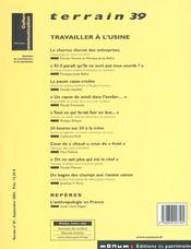 Terrain N.39 ; Travailler A L'Usine - 4ème de couverture - Format classique