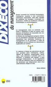 Dixeco du management - 4ème de couverture - Format classique
