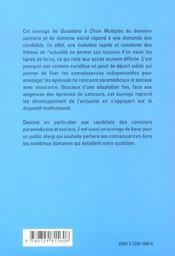 Qcm De Culture Generale Concours Paramedicaux Et Sociaux Themes De L'Actualite Sanitaire Et Sociale - 4ème de couverture - Format classique