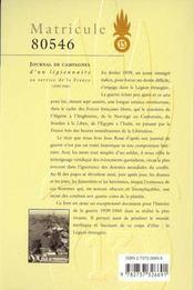 Matricule 80546, Missions D'Un Legionnaire Au Service De La France - 4ème de couverture - Format classique