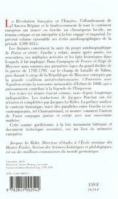 La révolution et l'empire ; écrits autobiographiques 1789-1815 - 4ème de couverture - Format classique