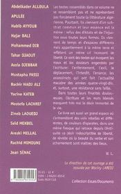 Paroles d'algeriens - 4ème de couverture - Format classique