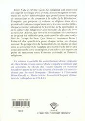 Les Religieux Et Leurs Livres A L'Epoque Moderne. Colloque De Marseil Le, 2 Et 3 Avr. 1997 - 4ème de couverture - Format classique