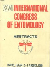 Xvi International Congress Of Entomology - Kyoto 3 - 9 August 1980 - Abstracts - Couverture - Format classique
