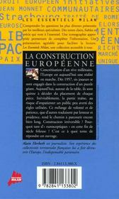 La construction europeenne - 4ème de couverture - Format classique