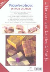 Paquets cadeaux en toutes occasions - 4ème de couverture - Format classique