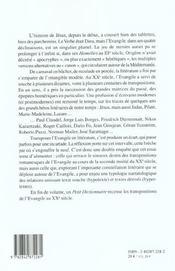 Roman Et Evangile. Transpositions De L'Evangile Dans Le Roman Europee N Contemporain, 1945-2000 - 4ème de couverture - Format classique