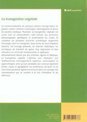 La Transgenese Vegetale ; Biocampus - 4ème de couverture - Format classique