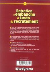 Entretien d'embauche et tests de recrutement (4e edition) - 4ème de couverture - Format classique