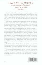 Enfances Juives,Limousin-Dordogne-Berry Terres De Refug - 4ème de couverture - Format classique
