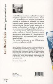 Lire michaël balint - 4ème de couverture - Format classique