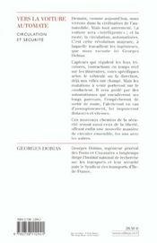 Vers La Voiture Automate ? - 4ème de couverture - Format classique