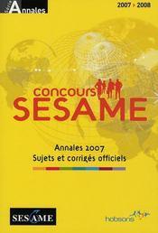 Sesame annales concours 2007 - Intérieur - Format classique