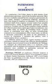 Patrimoine Et Modernite - 4ème de couverture - Format classique