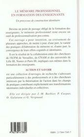 Memoire Professionnel En Formation Des Enseignants - 4ème de couverture - Format classique