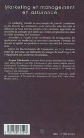 Marketing Et Management En Assurance - 4ème de couverture - Format classique
