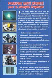 Passeport Santé Sécurité Pour La Plongée Tropicale - 4ème de couverture - Format classique