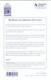 Renforcer La Coherence D'Un Texte - 4ème de couverture - Format classique
