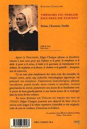 Trésors du parler des pays de l'Ouest : Poitou, Charentes, Vendée - 4ème de couverture - Format classique