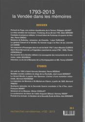 1793-2013, la Vendée dans les mémoires - 4ème de couverture - Format classique