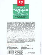 Jouons Au Vocabulaire Par Les Mots Croises - 4ème de couverture - Format classique