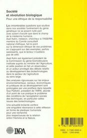 Société et révolution biologique ; pour une éthique de la responsabilité - 4ème de couverture - Format classique