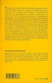 Les Etudiants Africains En France 1950-1965 - 4ème de couverture - Format classique