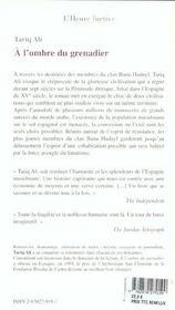 A L'Ombre Du Grenadier - 4ème de couverture - Format classique
