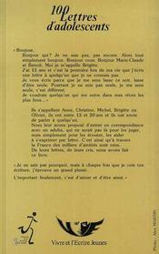 100 lettres d'adolescents - 4ème de couverture - Format classique