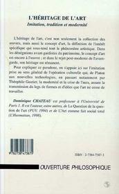 Heritage De L'Art Initiation Tradition Et Modernite - 4ème de couverture - Format classique