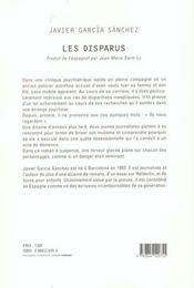 Les Disparus - 4ème de couverture - Format classique
