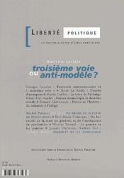 Revue Liberte Politique T.16 ; Doctrine Sociale ; Troisième Voie Ou Anti-Modèle ? - Couverture - Format classique