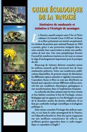 Guide écologique de la Vanoise : itinéraires de randonnée et initiation à l'écologie de montagne - 4ème de couverture - Format classique