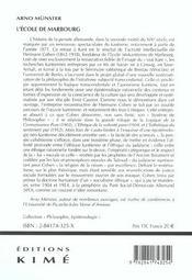 Ecole De Marbourg (L') - 4ème de couverture - Format classique