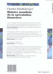 Histoire mondiale de la speculations financiere - 4ème de couverture - Format classique