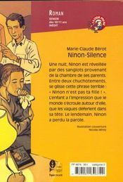 Ninon ; silence - 4ème de couverture - Format classique