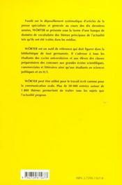 Worter Le Vocabulaire Allemand Classes Preparatoires Premier Cycle Universitaire - 4ème de couverture - Format classique