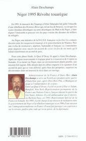 Niger 1995 ; Revolte Touaregue ; Du Cessez-Le-Feu Provisoire A La Paix Definitive - 4ème de couverture - Format classique