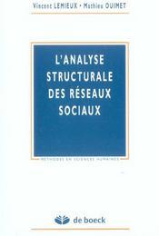 Analyse Structurale Des Reseaux Sociaux (L') - Intérieur - Format classique