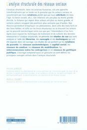 Analyse Structurale Des Reseaux Sociaux (L') - 4ème de couverture - Format classique