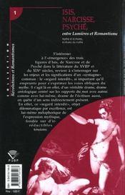 Isis, Narcisse, Psyche Entre Lumieres Et Romantisme. Mythe Et Ecritur Es, Ecritures Du Mythe - 4ème de couverture - Format classique