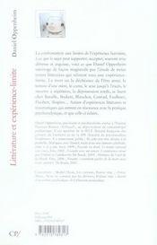 Littérature et expérience-limite - 4ème de couverture - Format classique