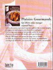 Plaisirs Gourmands - 4ème de couverture - Format classique