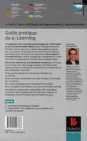 Guide pratique du e-learning ; stratégie, pédagogie et conception avec le logiciel Moodle - 4ème de couverture - Format classique