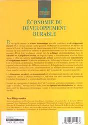 Economie Du Developpement Durable - 4ème de couverture - Format classique