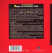 Essentiel des regles de procedure civile (l') - 4ème de couverture - Format classique